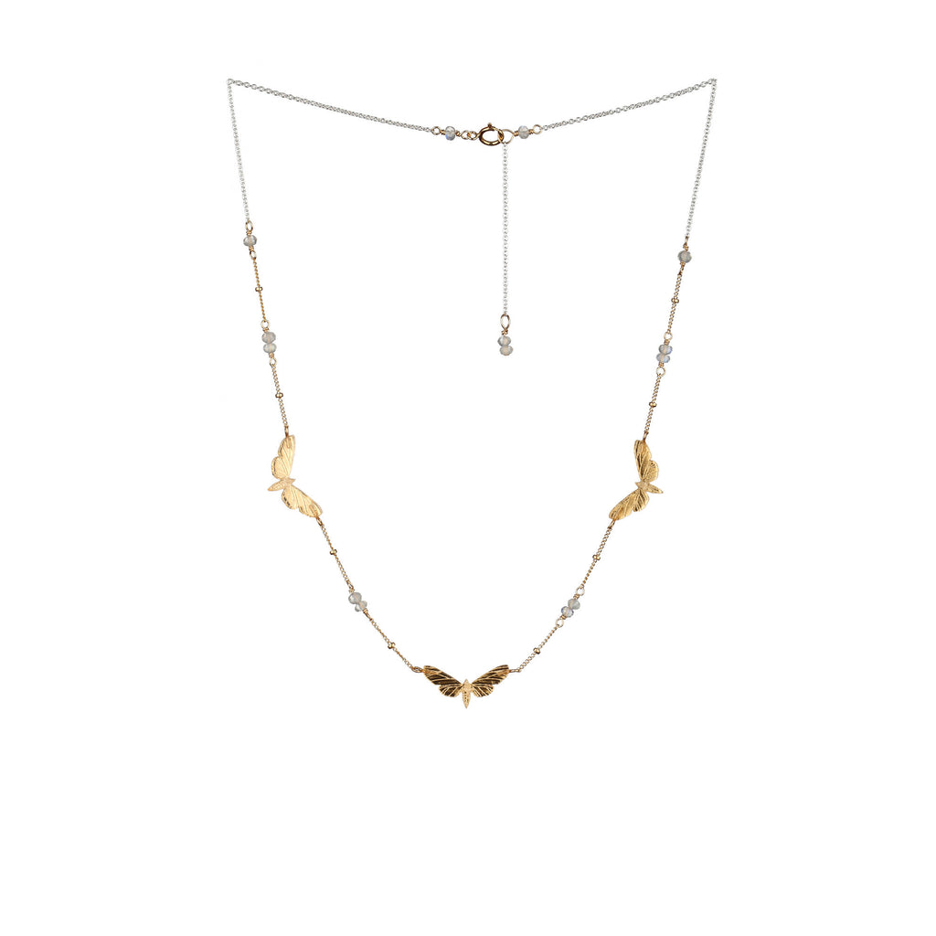 Triple Moth Necklace Gold & Moonstones