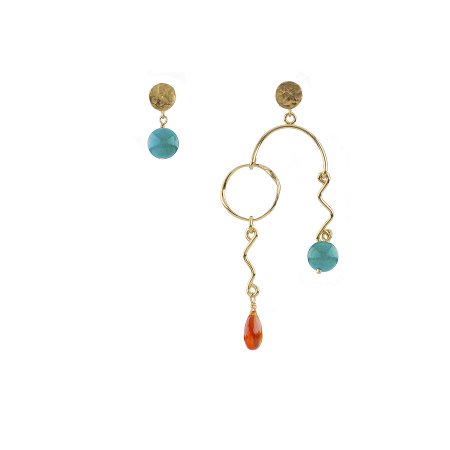 Flow Statement Earring Carnelian