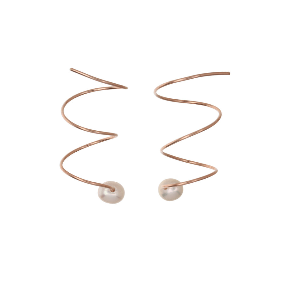 Spiral Wire Pearl Earrings