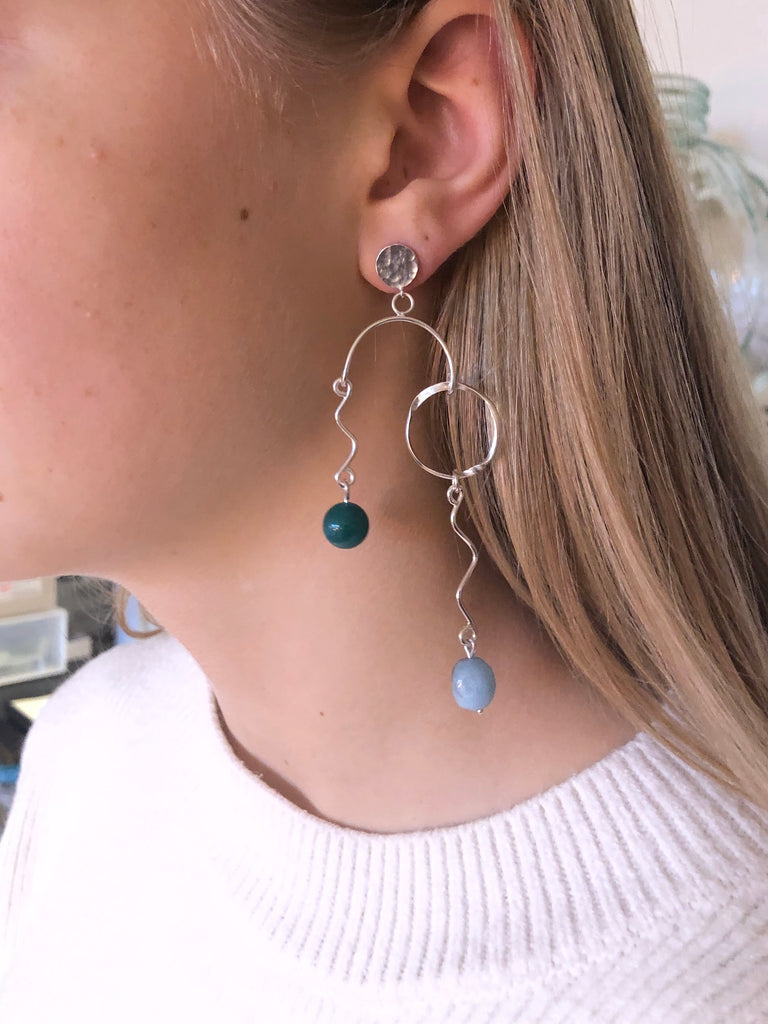 Flow Statement Earring Aquamarine