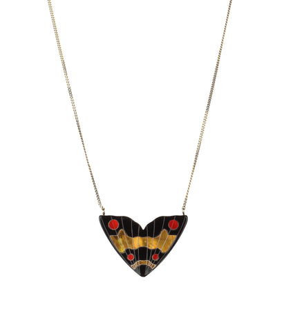 Monarch Inlay Pendant   Black with Red & Gold Pearl