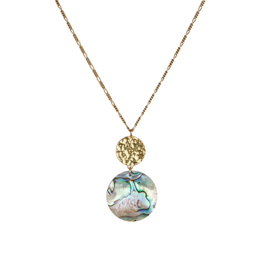 Sun and Paua Shell gold necklace