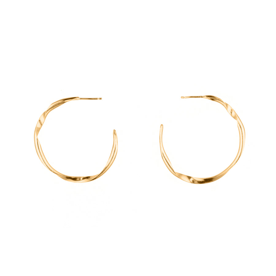 Double Twist Gold Hoops