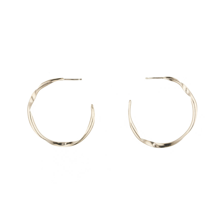 Double Twist Silver Hoops