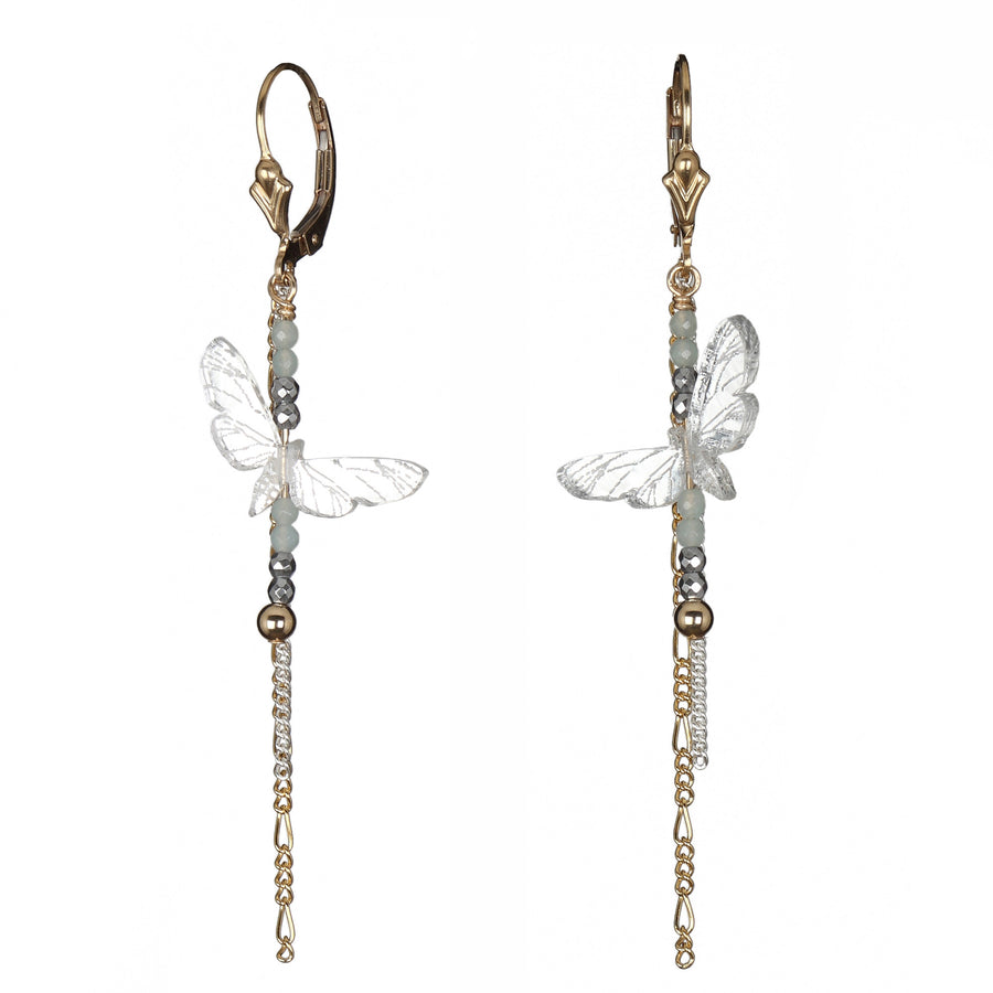 Moth Short Drop Chain Earrings