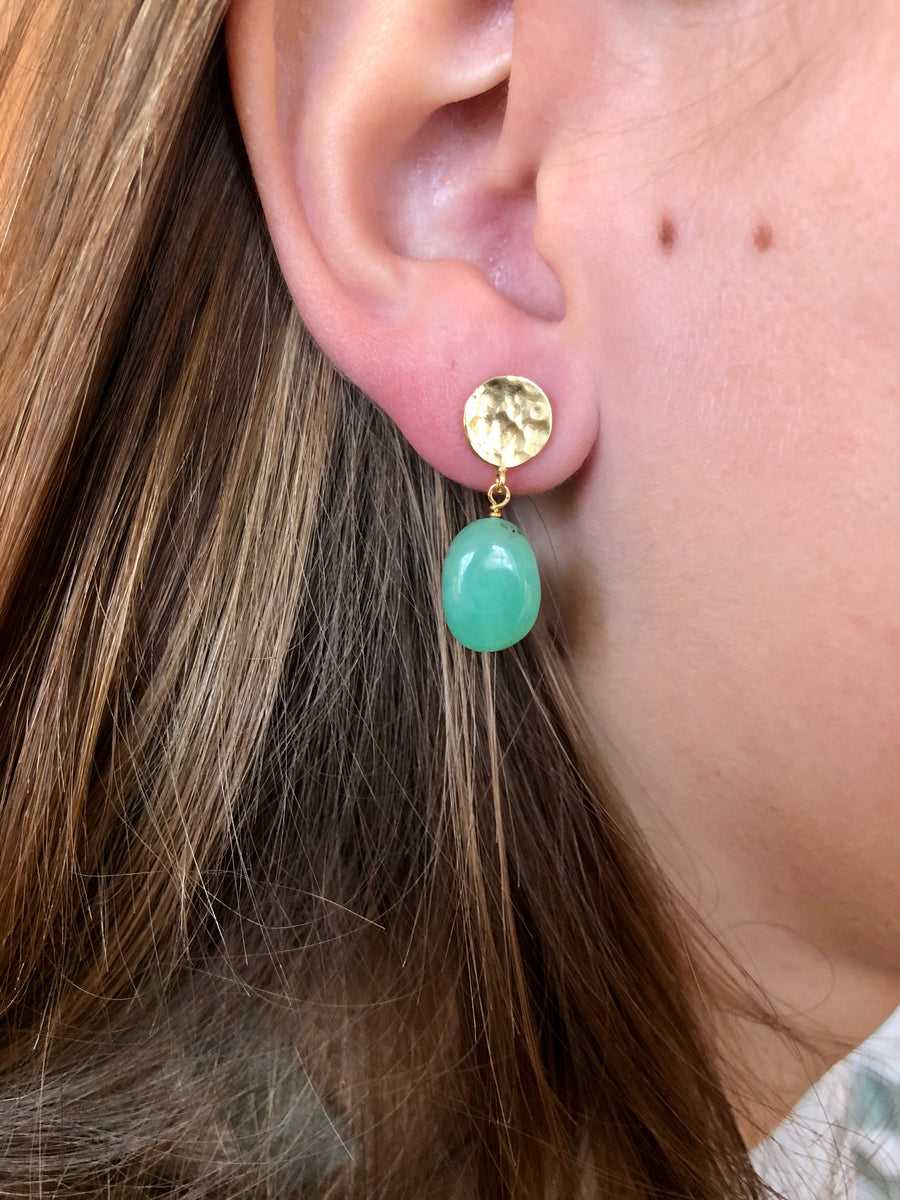 Drop earring Chrysoprase