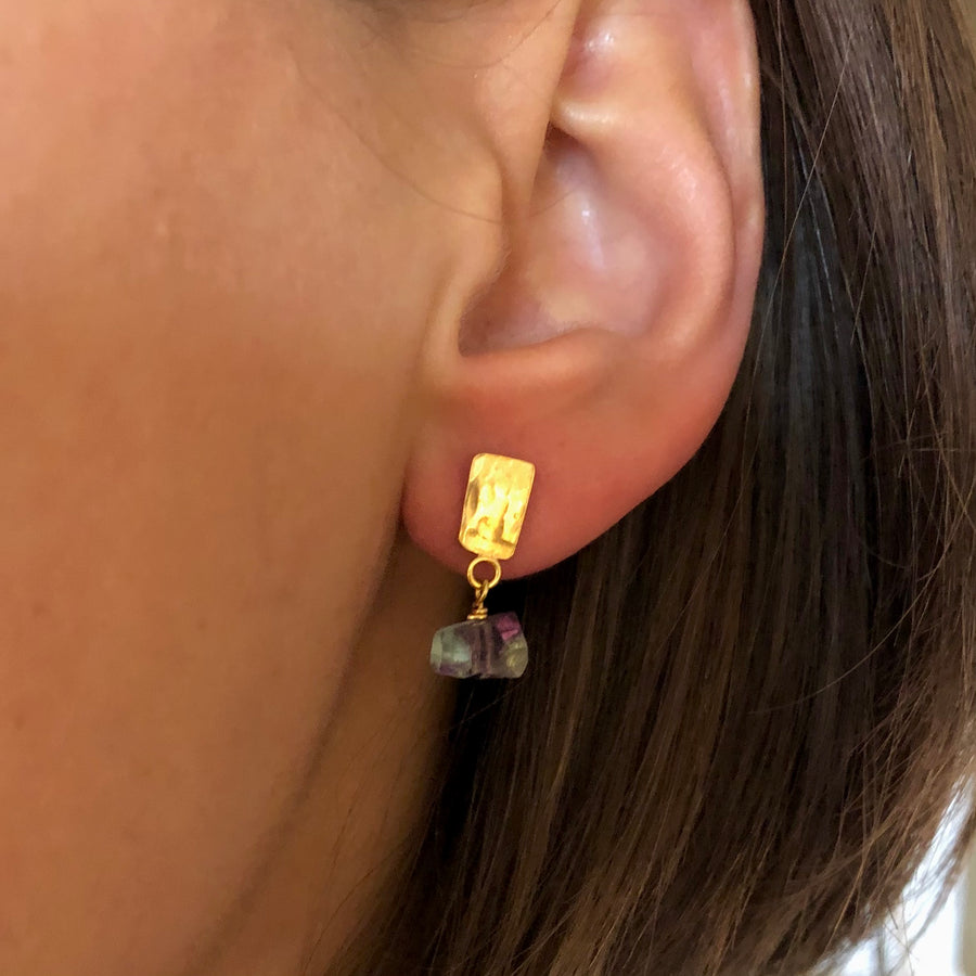 Textured earring With Fluorite drop