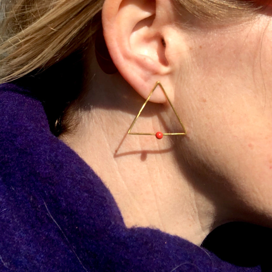 Triangle ear studs with coral