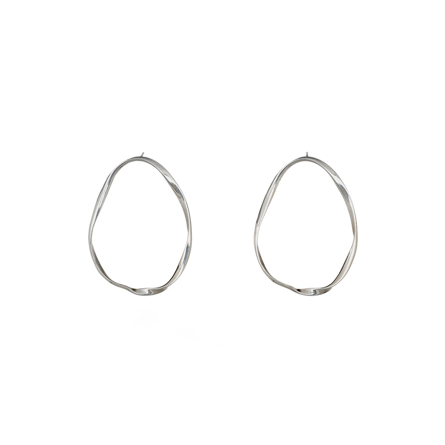 Nouveau large oval silver Hoops