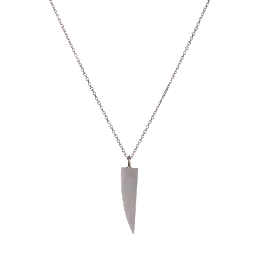 Layer necklace long silver with a knife pendant