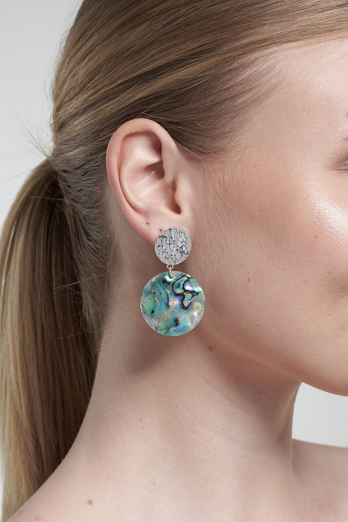 Sun and Shell Silver statement Earrings