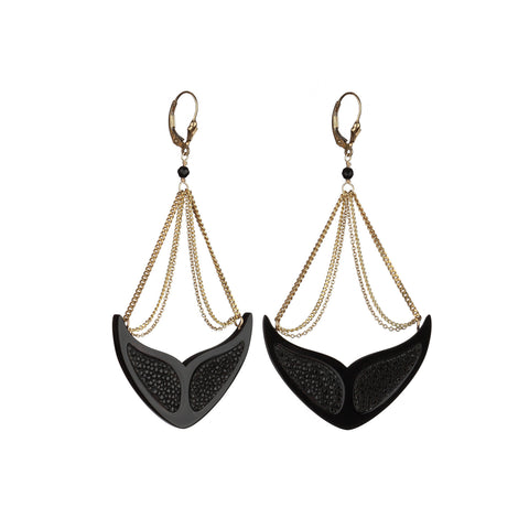 Whales Stingray Inlay Earrings  - Gold Chains