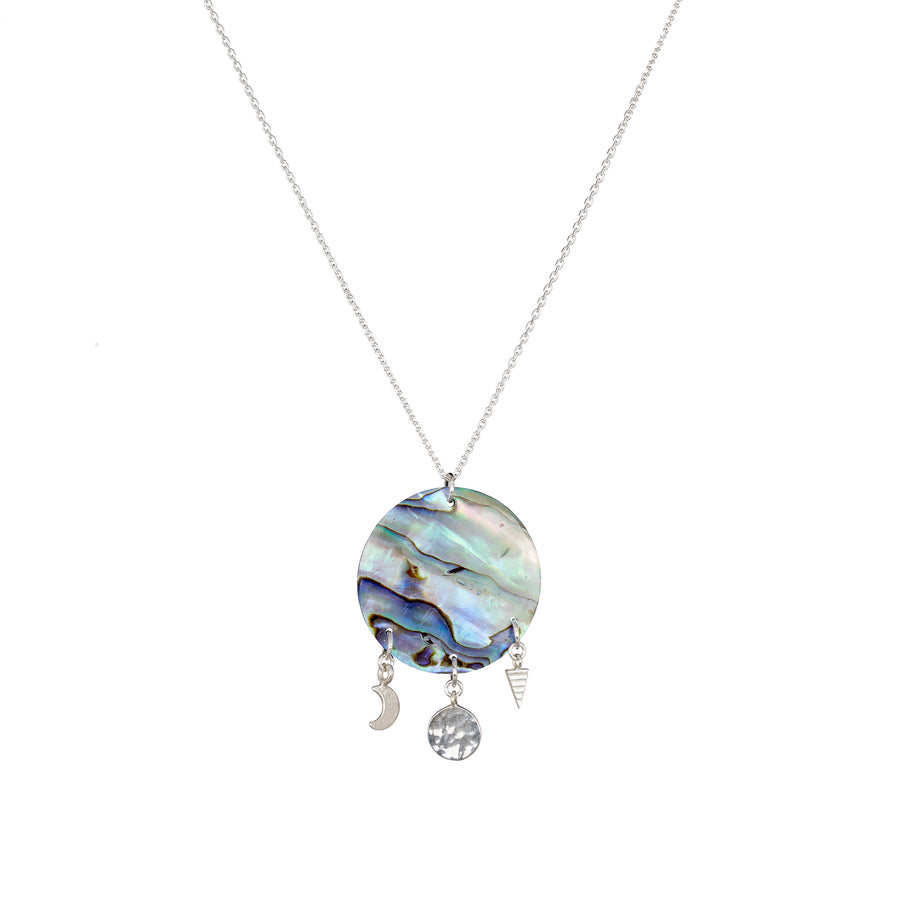 Silver Sun shell charm necklace