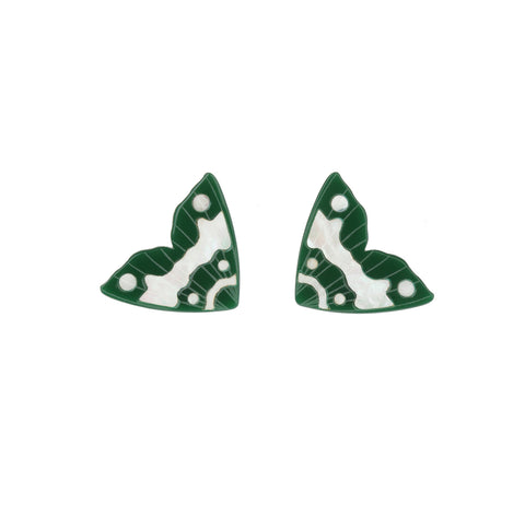 Moth Inlay Studs / Forrest Green with White Pearl