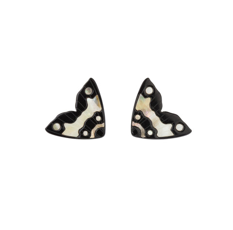Moth Inlay Studs Large / Black with Ivory Pearl