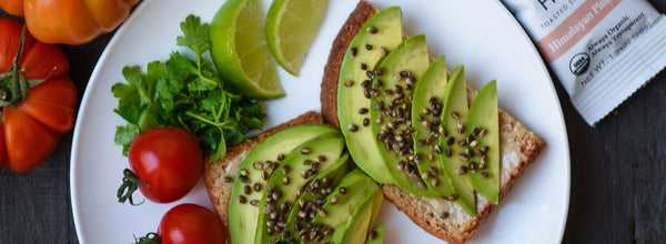 Tahini Avocado Toast with Himalayan Pink Salt Toasted Hemp Seeds