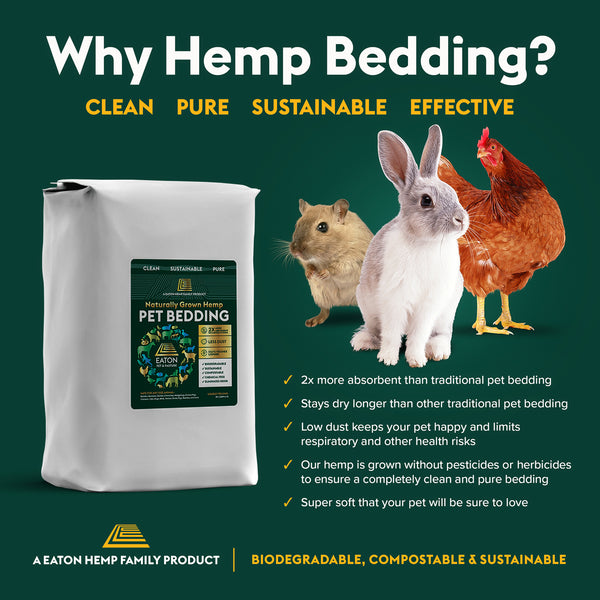 Eaton Hemp, Naturally Grown Hemp Pet Bedding.
