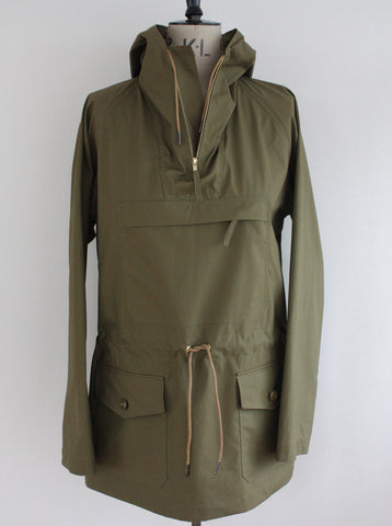 Lightweight Cotton Cagoule Water Repellent Olive