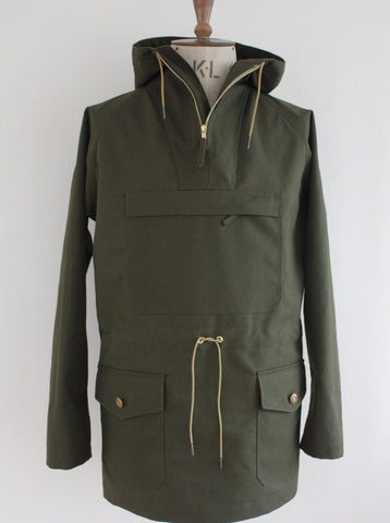 Waterproof Cotton Mens Cagoule Olive