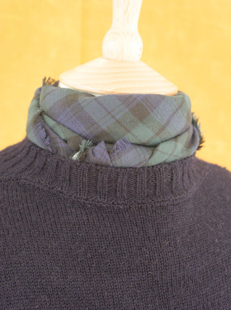 Wayside Flower Blackwatch tartan neck scarf front