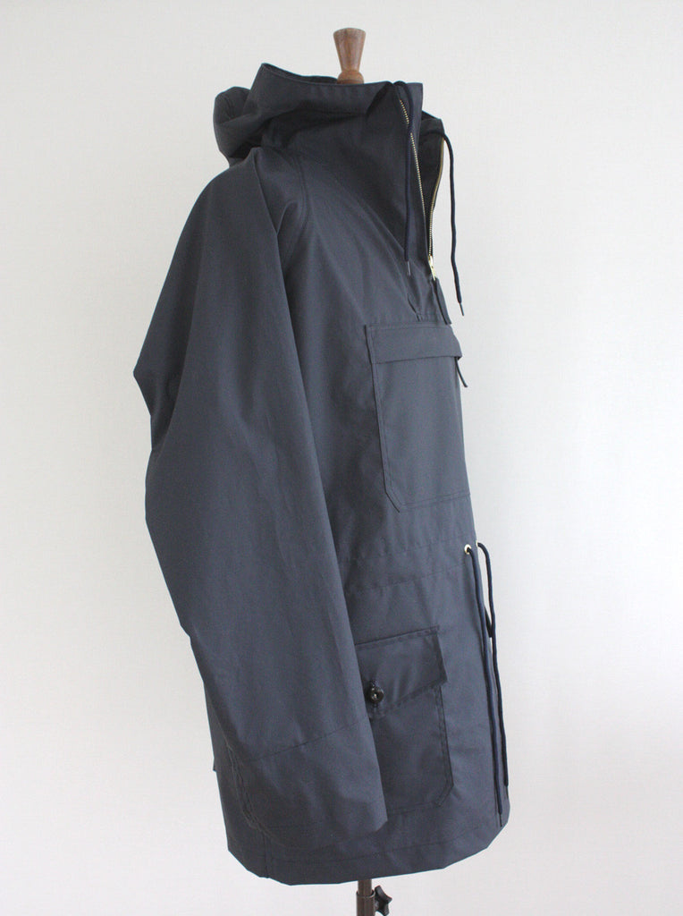 Wayside Flower waxed cotton Cagoule Navy side view