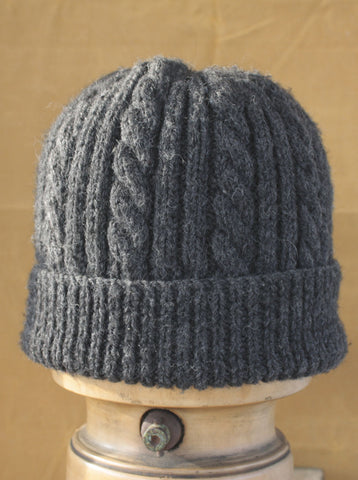 Hand Knitted Cable Knit Hat Grey Heather
