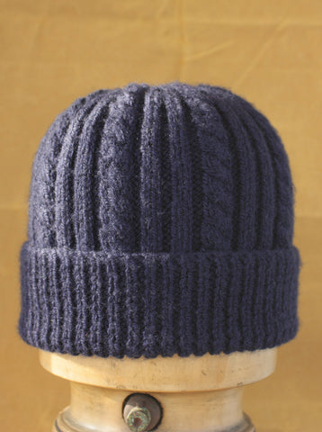 Hand Knitted Cable Knit Hat Navy