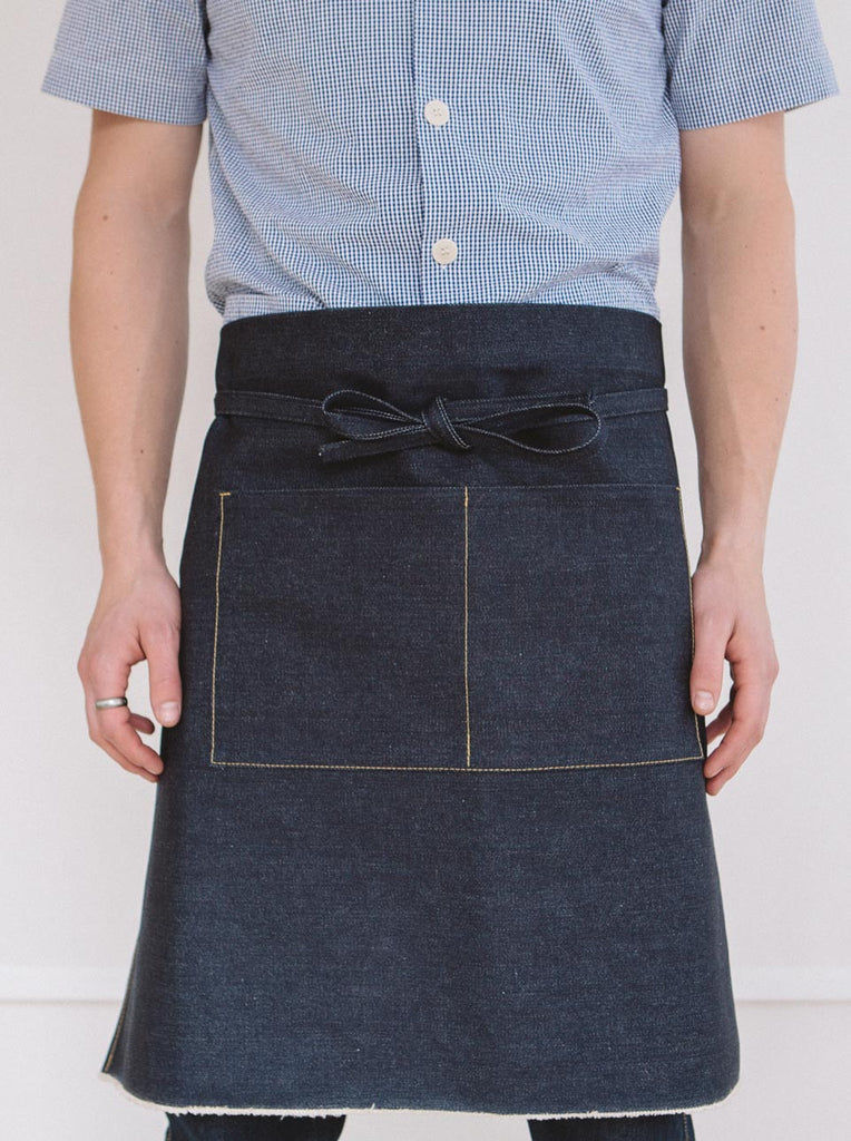 Wayside Flower selvedge denim apron front view