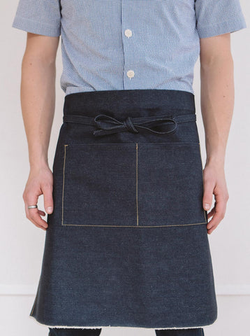 Selvedge Denim Apron, Tan Stitch