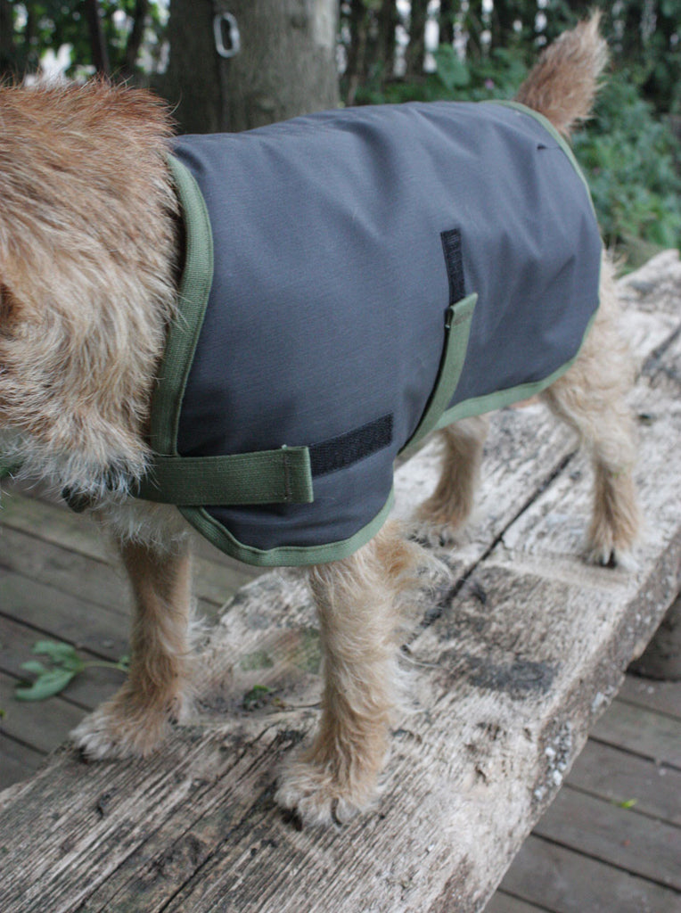 Wax Cotton Waterproof Dog Coat Charcoal