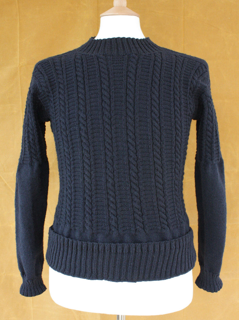 Gansey Jumper - Filey Gansey - Navy - Wayside Flower - front view