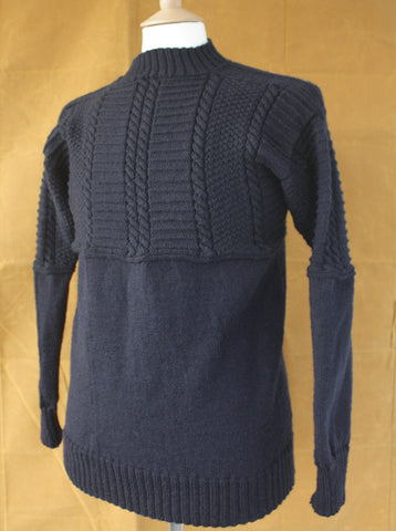 Withernsea Gansey Wool Sweater Navy Large