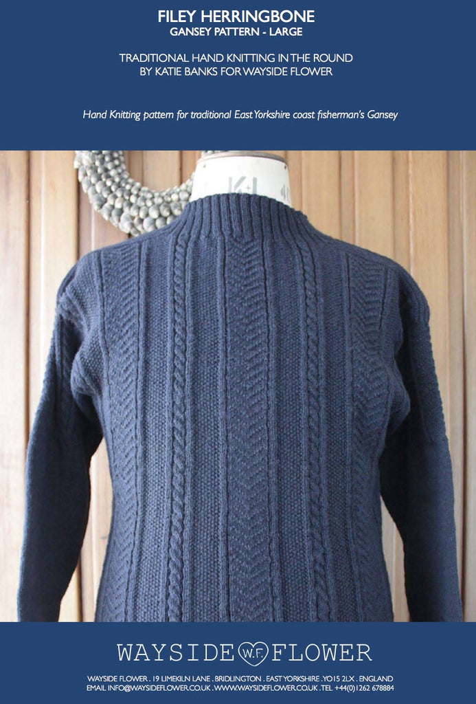 ef9db6123aa1e4 Gansey Pattern - Filey Herringbone Hand Knitting Pattern