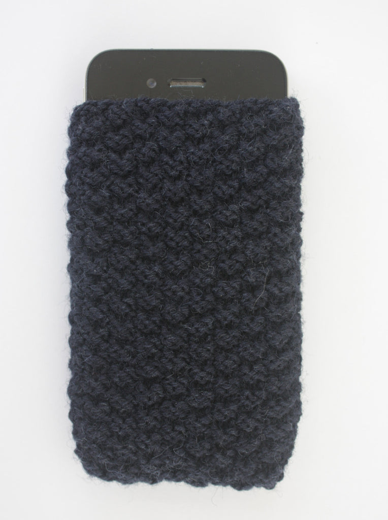 Wayside Flower knitted iphone case navy front detail