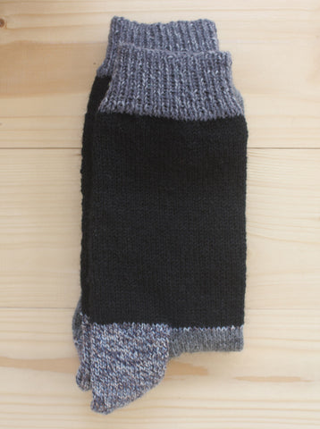 Hand Knitted Wool Socks Grey/Black
