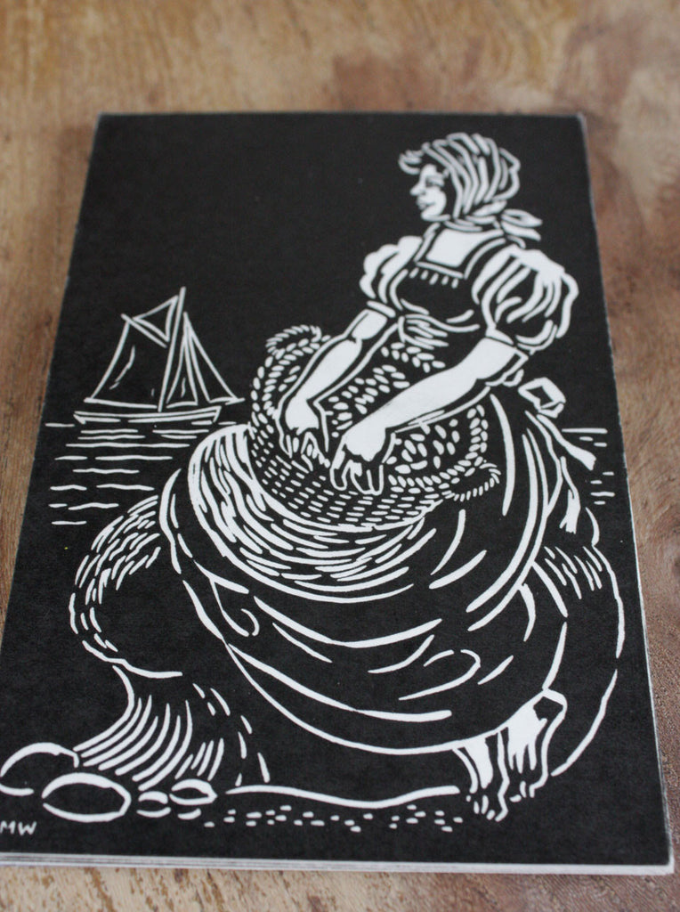 Wayside Flower hand printed wood block postcard Fish wife