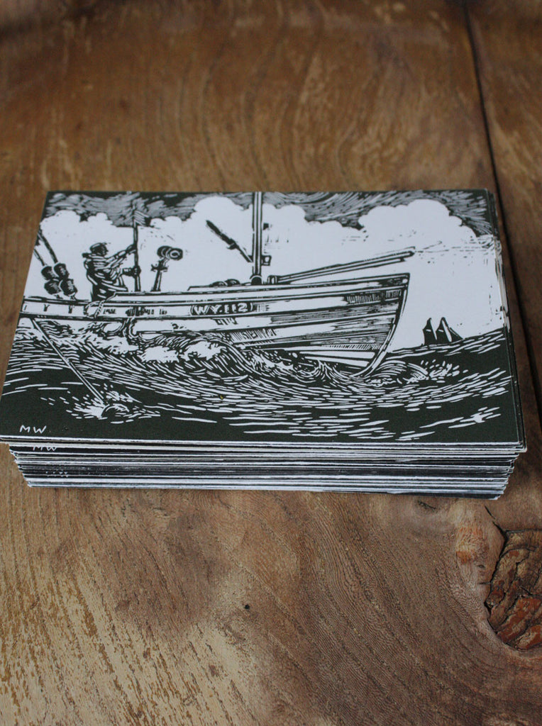 Wayside Flower hand printed wood block postcard Filey