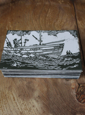 Hand Printed Postcard - Filey Fisherman print 1