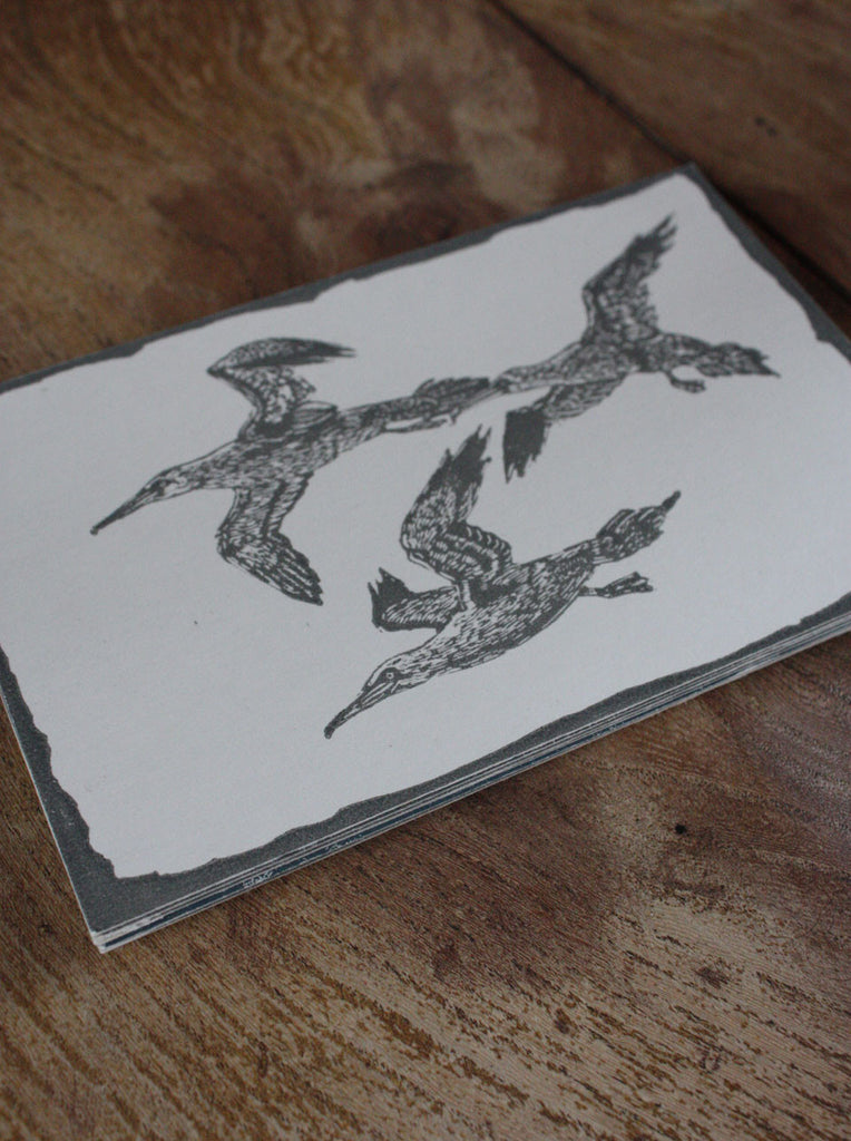 Wayside Flower hand printed wood block postcard Seagull