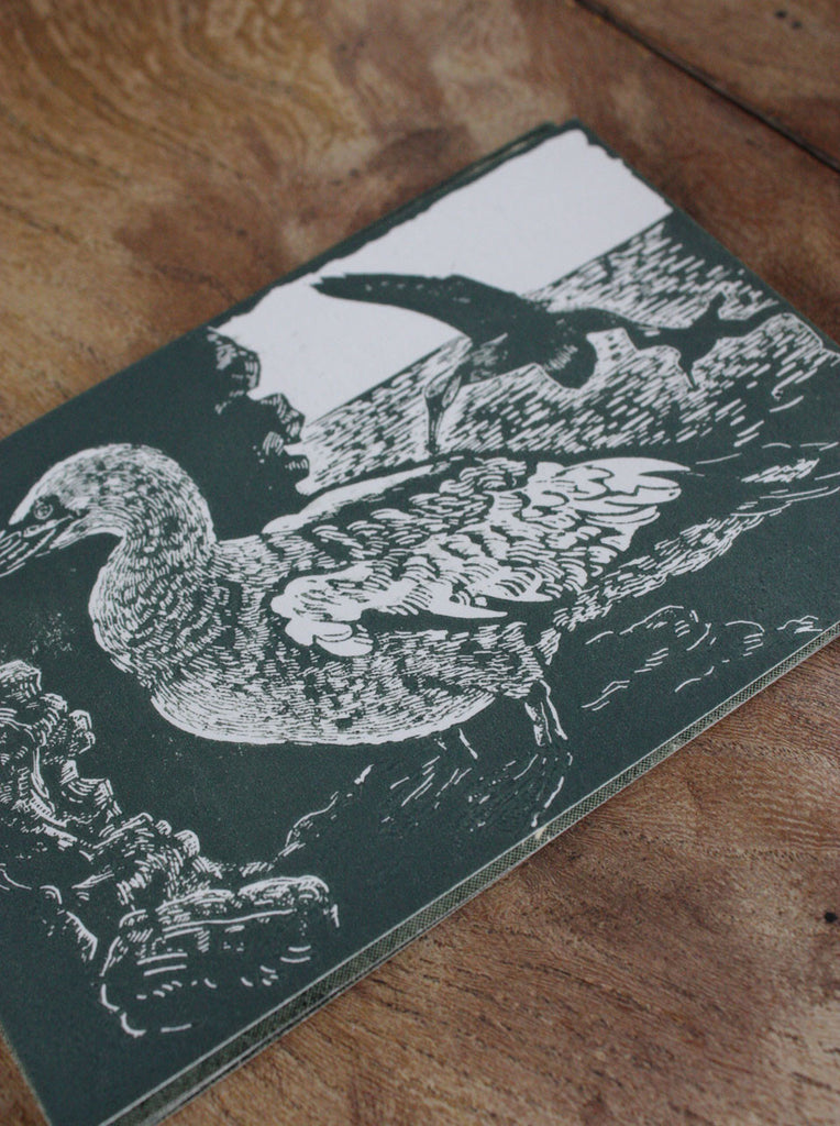 Wayside Flower hand printed wood block postcard Seabird