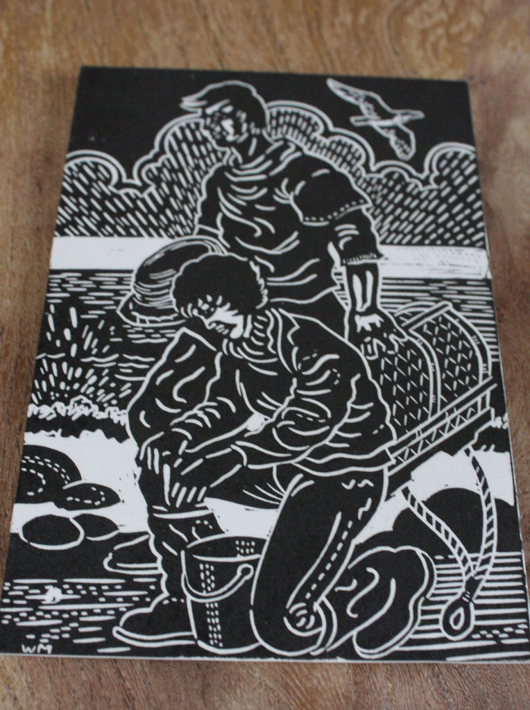 Wayside Flower hand printed wood block postcard Fishermen