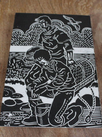 Hand Printed Postcard - Filey Fisherman print 8