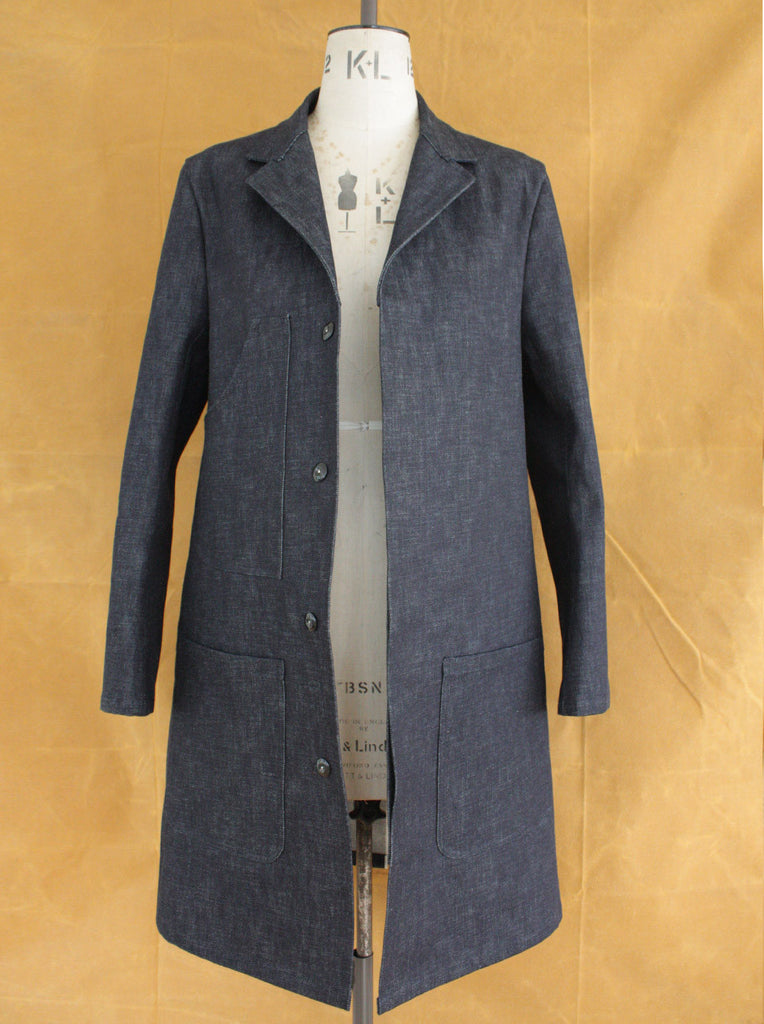 Wayside Flower canvas shop coat selvedge denim front