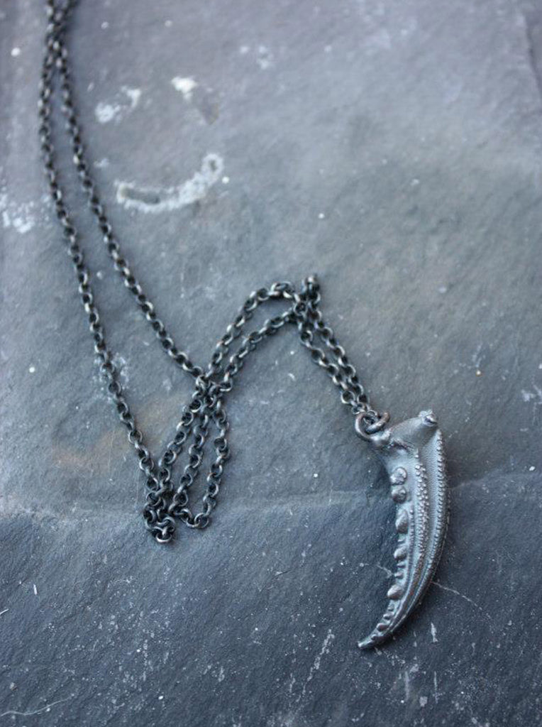 Wayside Flower Silver crab claw necklace slate view