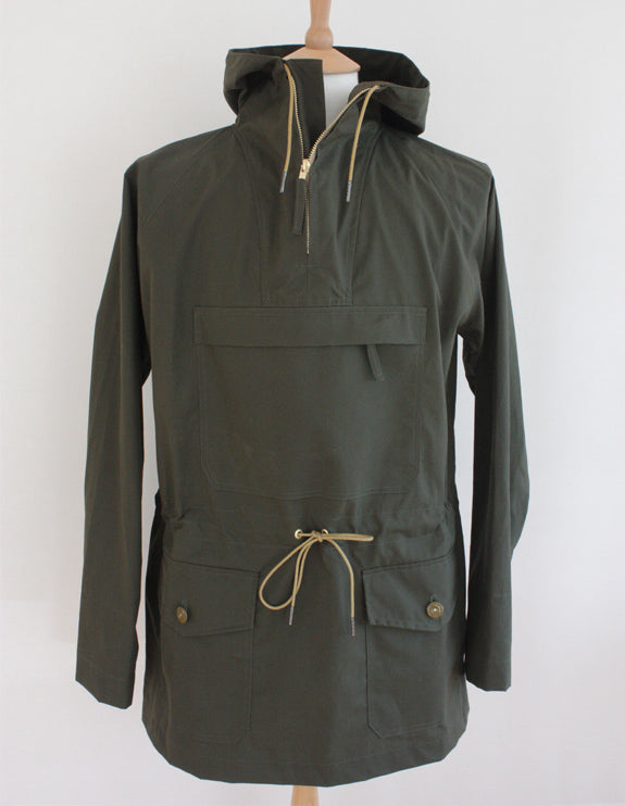 Wayside Flower waxed cotton Cagoule tent green front & Wax Cotton Mens Cagoule - Tent Green - Wayside Flower - Wayside Flower