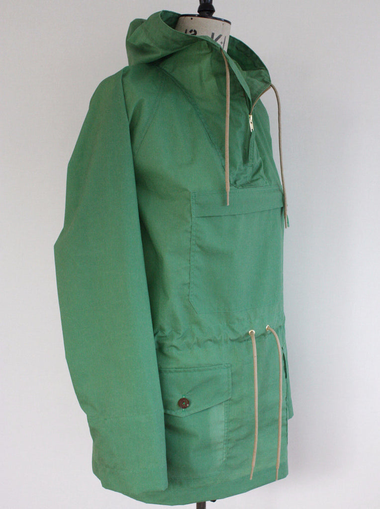 Wayside Flower waxed cotton Cagoule green side view