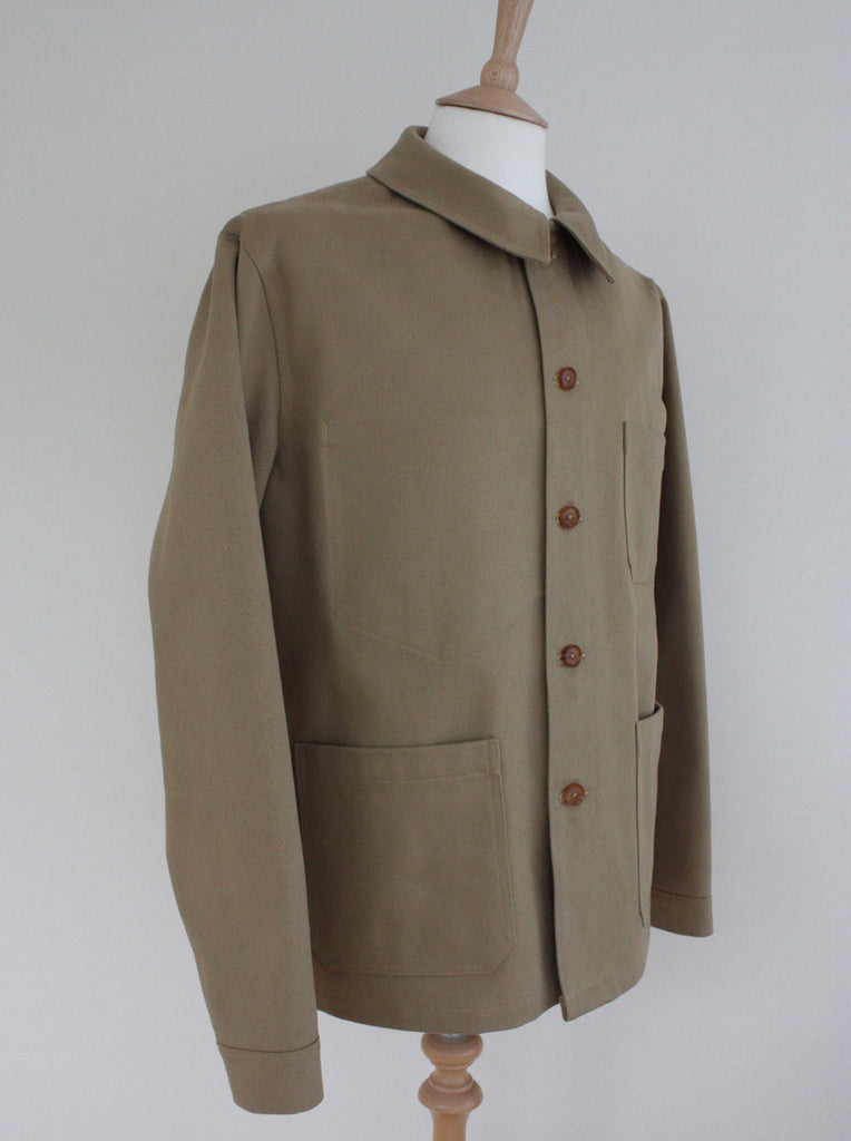 Wayside Flower heavy twill workwear jacket khaki side view