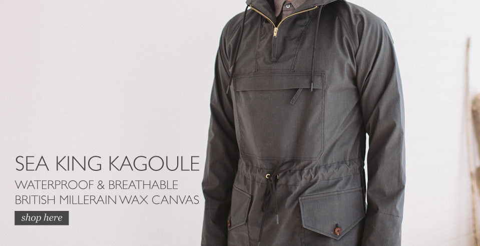 cagoule mens waxed canvas sea king kagoule black