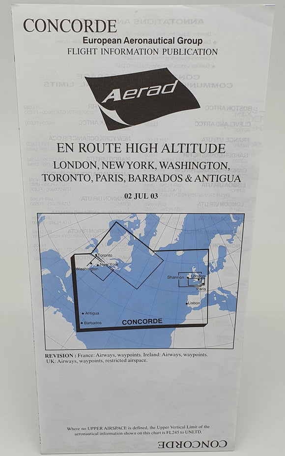 Limited Edition - Concorde En Route High Altitude Aerad Chart