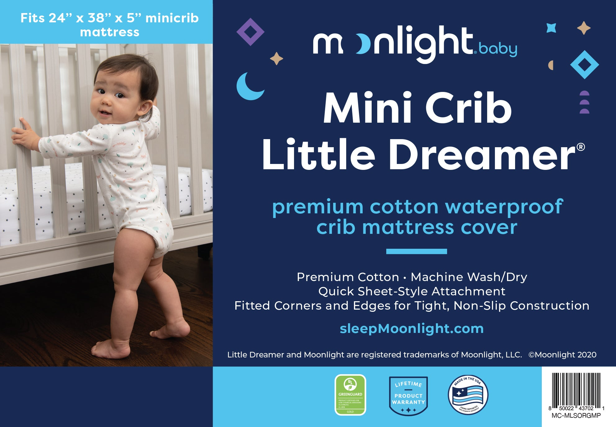 Mini Crib Little Dreamer Premium Cotton Waterproof Mattress Cover
